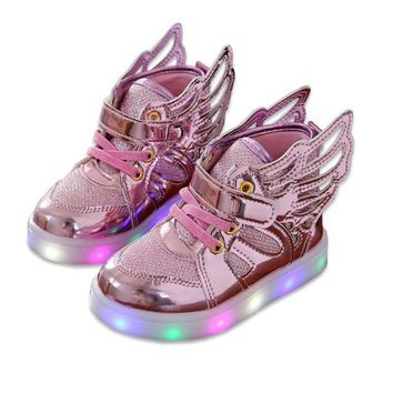 Fashion Wings Canvas Girls Glowing Sneakers Shoes