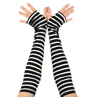 Arm Warmers in Black and White Zebra Stripes - Ultra Long - Sleeves - Fingerless Gloves - LAST PAIR