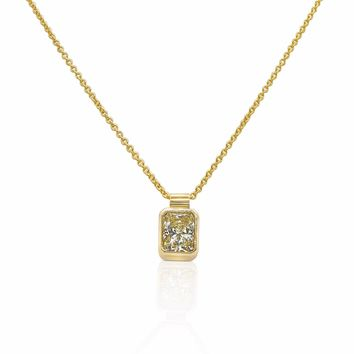 Luxinelle 0.59 Carat Radiant Cut Bezel Diamond Solitaire Pendant on a Chain - 14K Yellow Gold