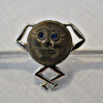 Touch Wood Charm Man in Moon Sterling Brooch Pin WWI Valentine
