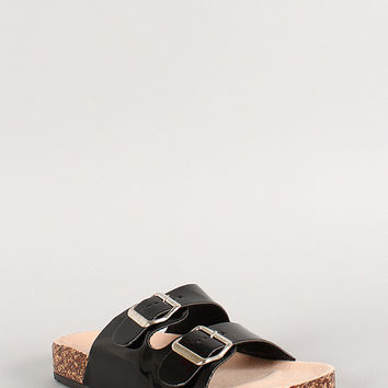 Bamboo Patent Buckle Open Toe Footbed Flat Sandal
