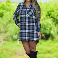 Simply Stated Boyfriend Shirt Dress-Black/Plaid