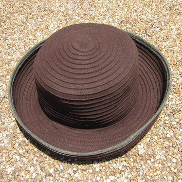 Vintage Peruvian Connection Ribbed Chocolate Brown Felt Hat