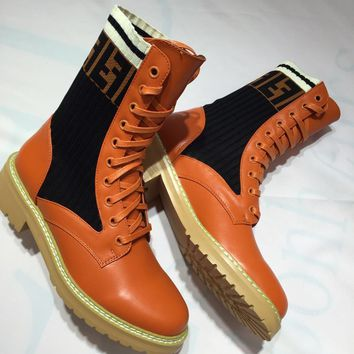 Fendi Stretch Knit Leather Boots #920