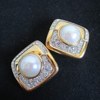 1980s Nina Ricci Vintage Earrings Designer Gold Tone Rhinestone Pearlescent Cabochon Clip on 80s Earrings