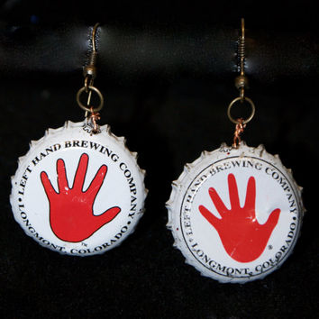 Left Hand Brewery Bottle Cap Earrings, Beer Lovers, White, Red, Handmade, One of a kind