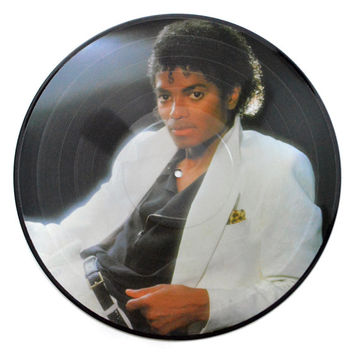 Vintage 80s Michael Jackson Thriller Album Picture Disc Record LP