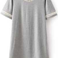 Grey Short Sleeve Cut-Out Trim Shirt Dress
