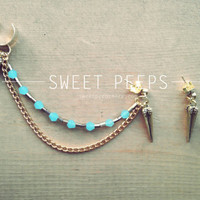 Gold Ear Cuff with Gold Spike and a string of Beautiful Blue Crystals and BONUS Spiked Earring