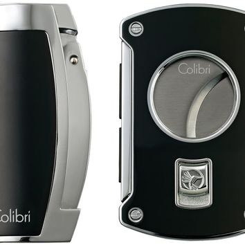 Colibri Enterprise Black Lighter and Slyce Black Cigar Cutter Gift Set