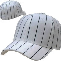 DECKY White Deluxe Fitted Pin Striped Baseball Cap Referee Hat (6-7/8)