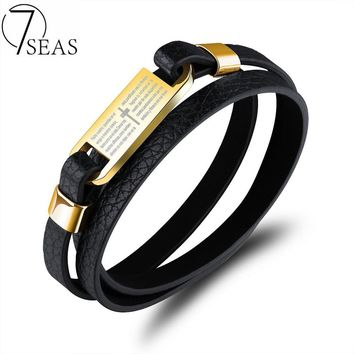 7SEAS Multilayer Leather Cowhide Cross Bible Bracelets Bangle Gold Color Stainless Steel Bracelets For Men Wrist Jewelry 7S1109