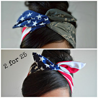 Camo Patriotic Dolly bow, Military American Flag head band, hair bow