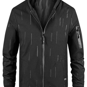 Stand Collar Printed Zip Embellished Jackets for Men