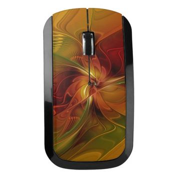 Abstract Red Orange Brown Green Fractal Art Flower Wireless Mouse