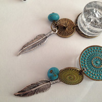 Plugs Turquoise painted brass disk with western style dangles  One of a kind. READY TO SHIP.
