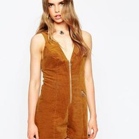 ASOS | ASOS Cord Romper with Zip Ring Pull at ASOS