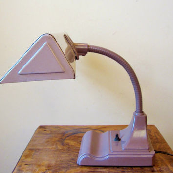 FREE SHIPPING Vintage Industrial Gooseneck Lamp Two-Tone Near Mint Condition