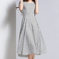 Dot Faille Fit & Flare Dress
