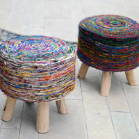 Stoolha Artisan Round Multicolor Swirl Pattern Fabric Pouf-stool