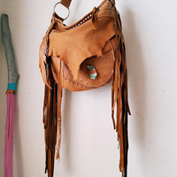 Tan brown rusted fringe leather artisan hobo camel bag fringe purse bohemian african jungle raw leather festival free people irregular