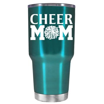 Cheer Mom Pom Pom on Teal 30 oz Tumbler Cup