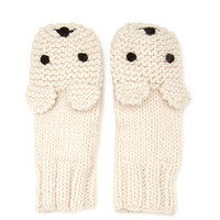 FOREVER 21 Bear Face Mittens Taupe One