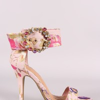 Anne Michelle Jewels Embellished Buckle Ankle Strap Heel