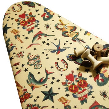 Ironing Board Cover custom size shape large wide standard tabletop Alexander Henry's Tattoo Tea skulls horsehoes hearts mermaids pick size