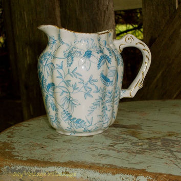 Vintage English China Creamer - Blue and White Floral - Porcelain Pitcher - Pretty Pattern