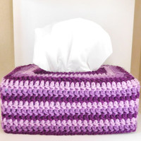 Crochet Tissue Box Cozy - Purple Bathroom Accessory - Tissue Box Cover - Purple Stripes Bathroom Decor - Purple Nursery Decoration