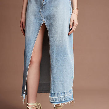 Vented Denim Midi Skirt