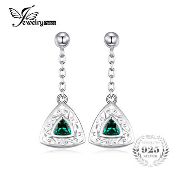 JewelryPalace Trillion 0.4ct Created Emerald Carved Drop Earrings For Women 100% 925 Sterling Silver Brand Vintage Fine Jewelry