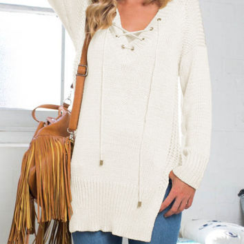 White V-Neck Lace Up Split Knitted Sweater