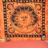 sun and moon tapestries wall hanging Bright Sun moon wall art Bohemian Tapestry Throw Bedspread  wall art Hippie Hippy Wall Hanging bedcover