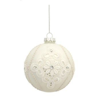 "4"" Shiny White Diamond Shaped Floral Lace Decal Glass Ball Christmas Ornament"