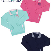 Preppy Monogrammed Pullover Quarter zips, Pullover in three colors: NAVY, PINK, & MINT gingham pinstripe