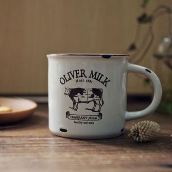 New KEYAMA Do the old ceramic imitation enamel breakfast milk mugs Office coffee tea cups Cows Hedgehog  Navigation patterns