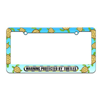 Protected By Turtles - License Plate Tag Frame - Sea Turtle Design