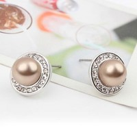 YCJ Women's Rhodium Plated Alloy Earrings: Round Pearl Theme Color Golden