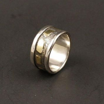A  Organic Mans Wedding  Ring Organic Wedding Ring Rustic Wedding Band Textured Recycled gold  Silver Jewelry Metalwork Ring