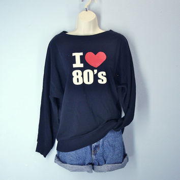 I Love 80s Black Vintage Tee Top Blouse Dolman Sleeves Small Medium