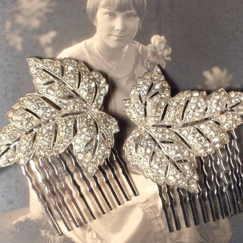 1920s Hair Comb PAIR Art Deco Pave Rhinestone Leaf Bridal Hair Combs, Vintage Fur Clips to OOAK Haircombs Great Gatsby Flapper