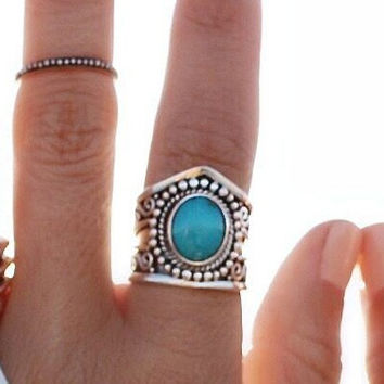 Natural Turquoise Statement Ring in Solid Sterling Silver, Silver Gemstone Rings, Personalized Boho Ring