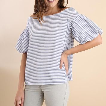 Blue Striped Balloon Sleeve Top