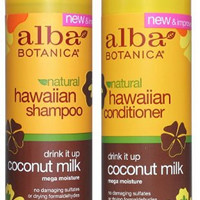 Alba Botanica, Drink It Up Coconut Milk Hawaiian Duo set Conditioner and Shampoo, 12 Ounce Bottles Each