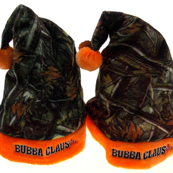 Set 2 Childs Santa Christmas Hats Kids Bubba Claus Jr Camo Orange Plush Holiday
