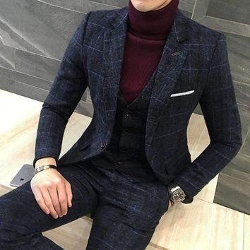 Mens Suit Fit Plaid Formal