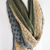 Cotton Patterned Long Scarf, Blue Grey, Beige, Olive Green, Multicolor, Woman Scarf