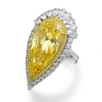 Lafonn Red Carpet Sterling Silver Platinum Plated Lassire Canary Ring (28 CTTW)